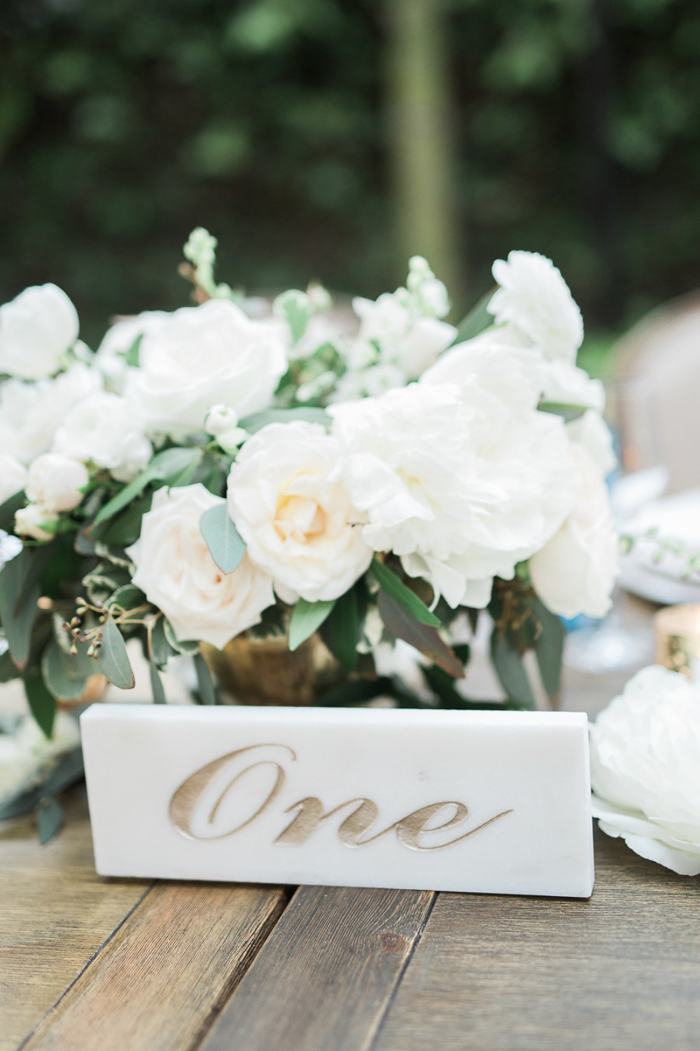 marble and gold table numbers