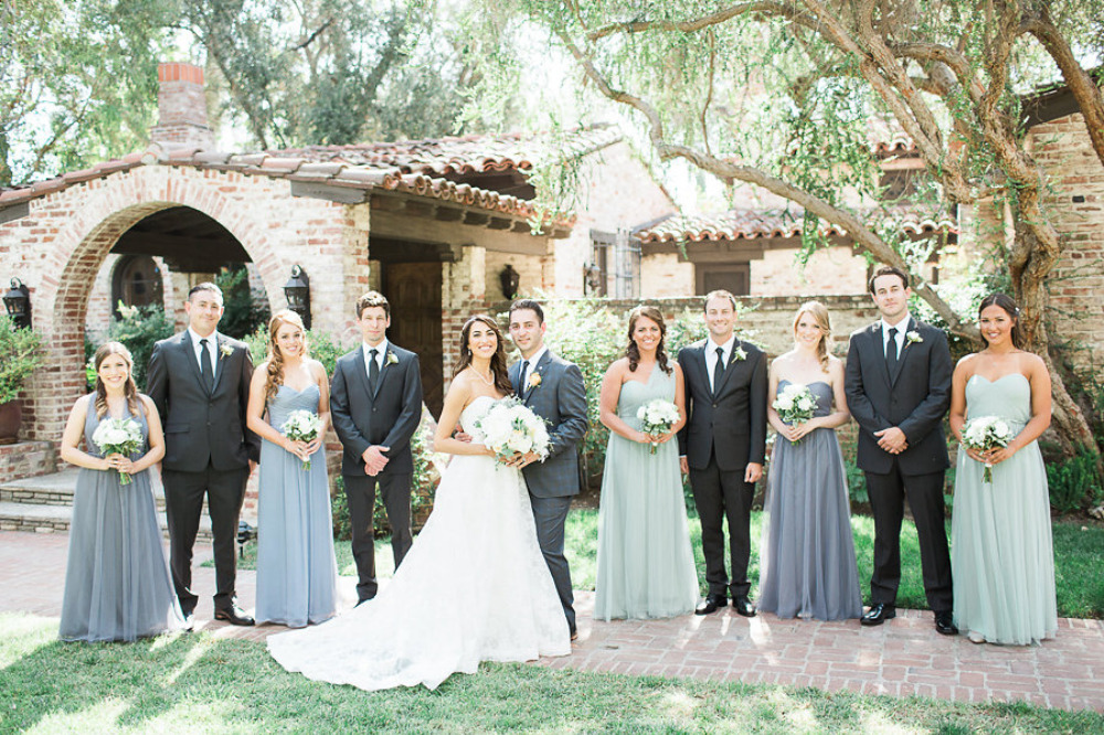 mixed blue and black wedding party attire