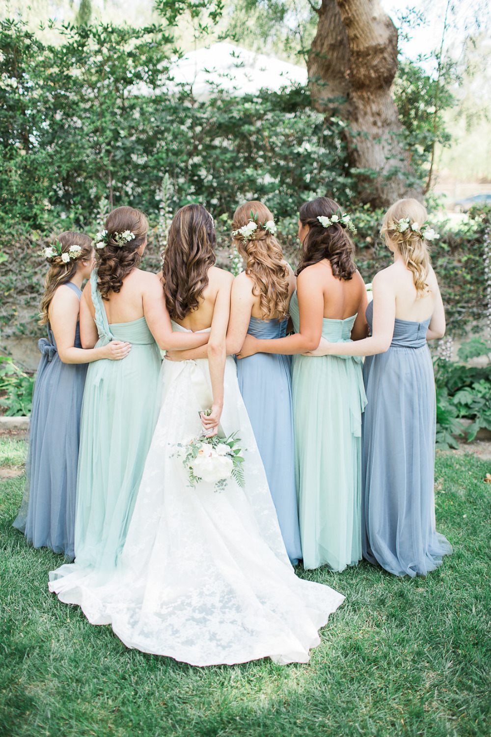beautiful blue mix and match bridesmaid dresses