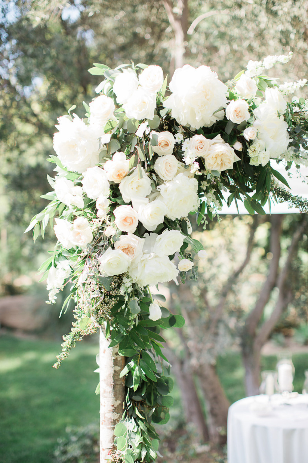 beautiful pink and white wedding flower ceremony decor
