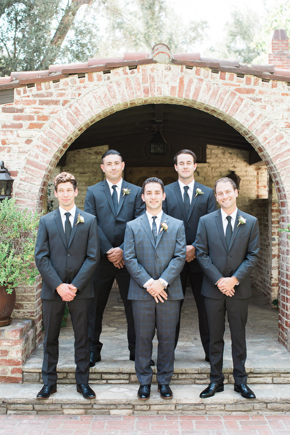 dark grey groomsmen suits