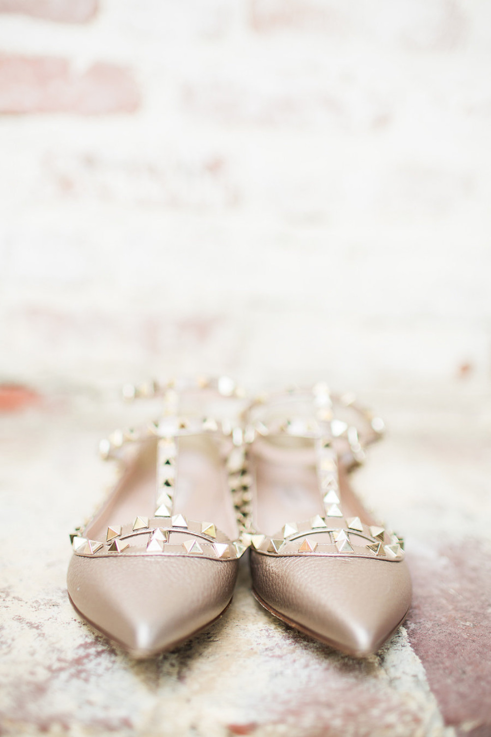 gold studded nude wedding shoes