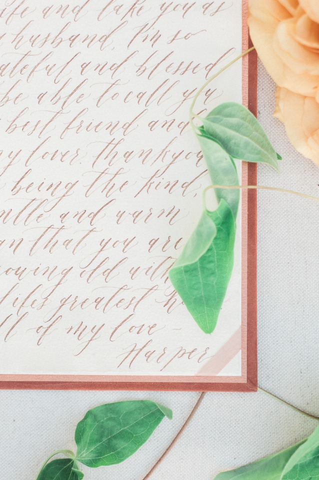 a touch of old world class with calligraphy vows written by Wedding Story Writer