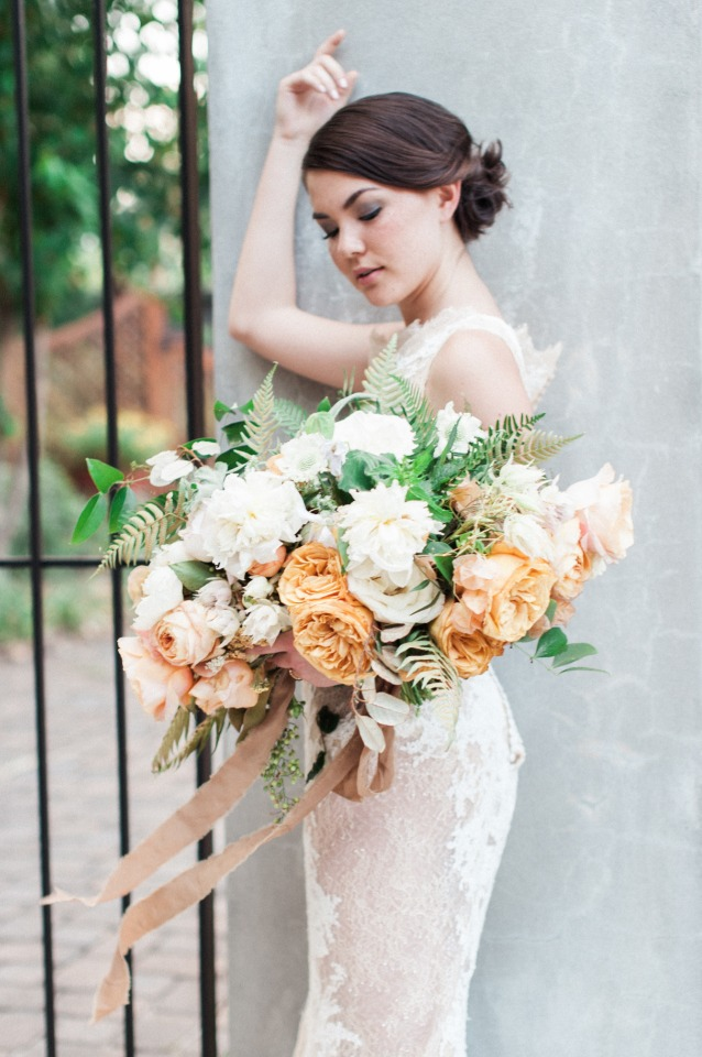 vintage peach and white wedding bouquet