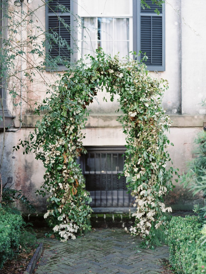 gold and green garden trellis for your wedding ceremony backdrop