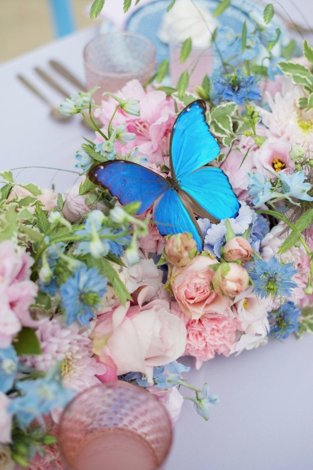 whimsical butterfly and flower centerpiece garland