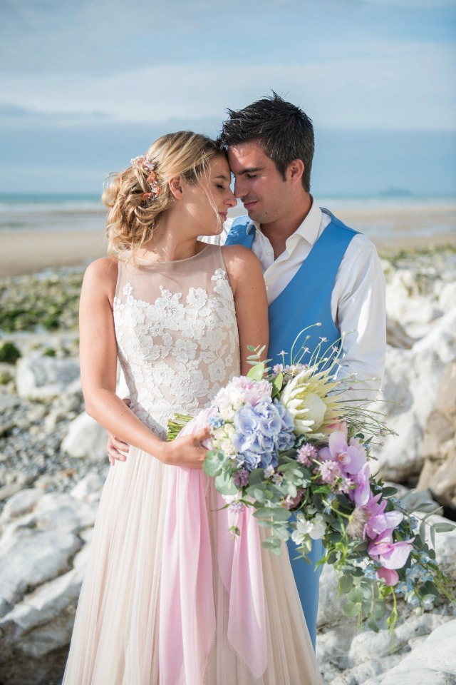 pink and blue bride and groom style