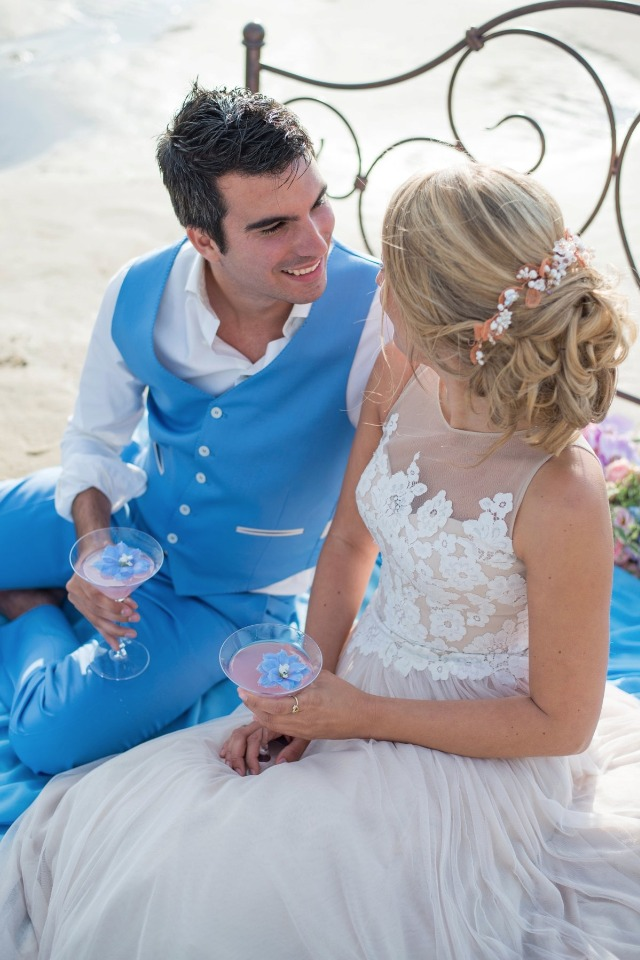 beach bride and groom
