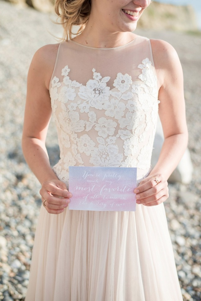 sweet calligraphy and watercolor wedding paper