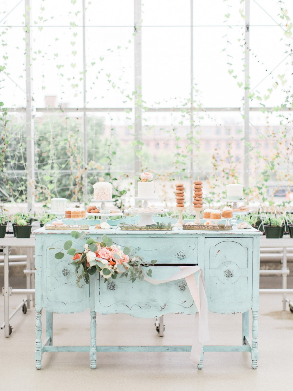 Gorgeous blue vintage inspired cake table
