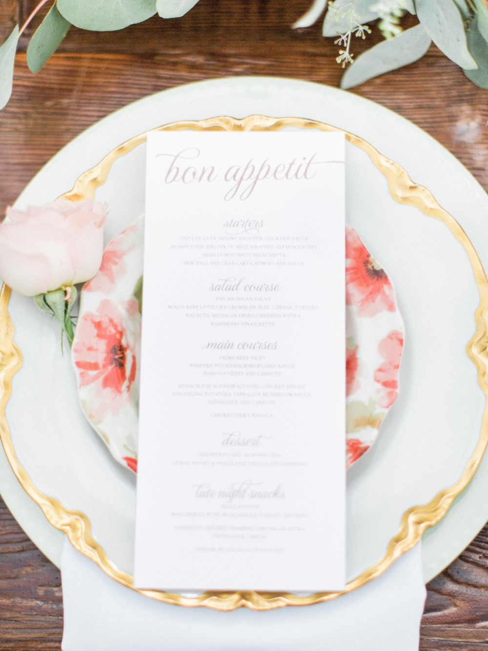Wedding menu and placesetting details