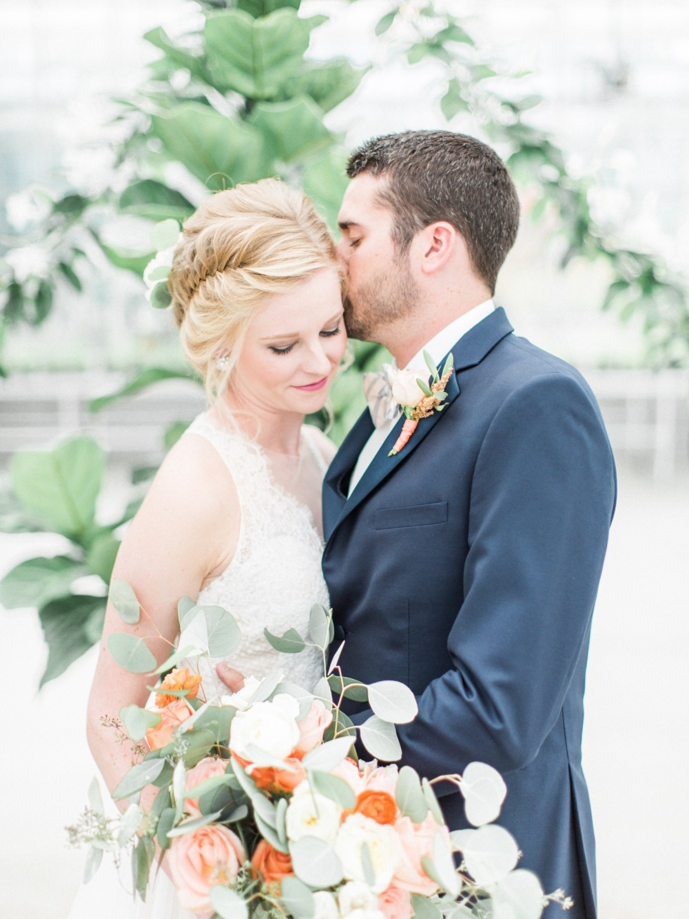 Stylish bride and groom look