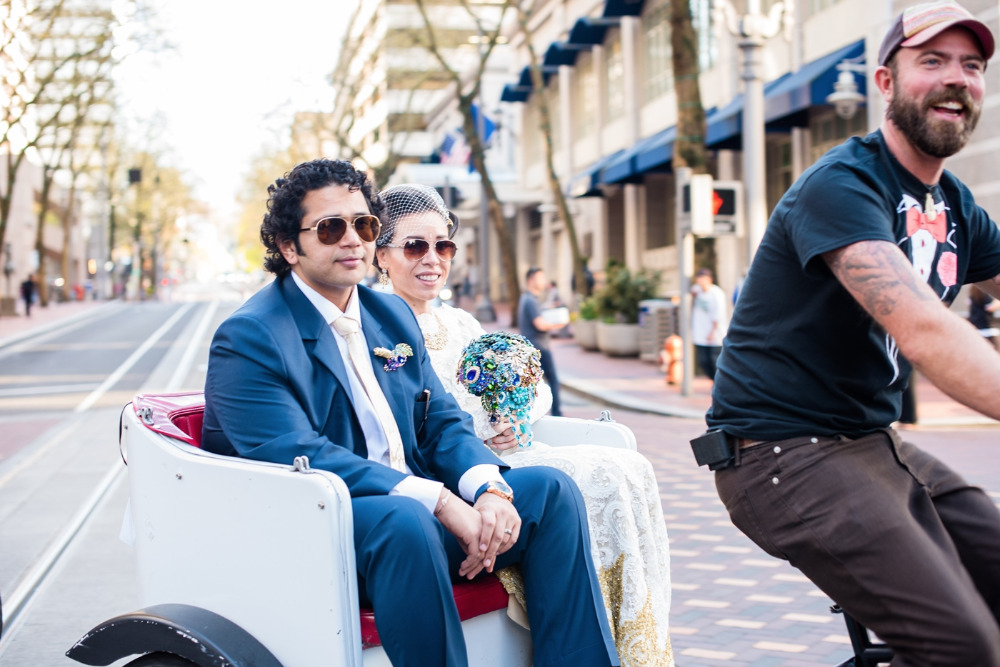pedicab ride for the newlyweds around town