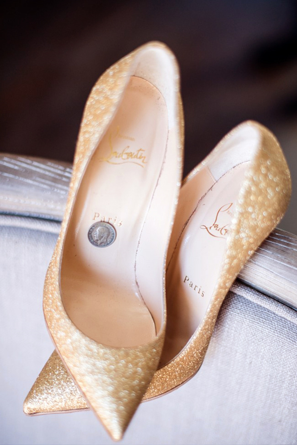 gold glitter louboutin wedding shoes