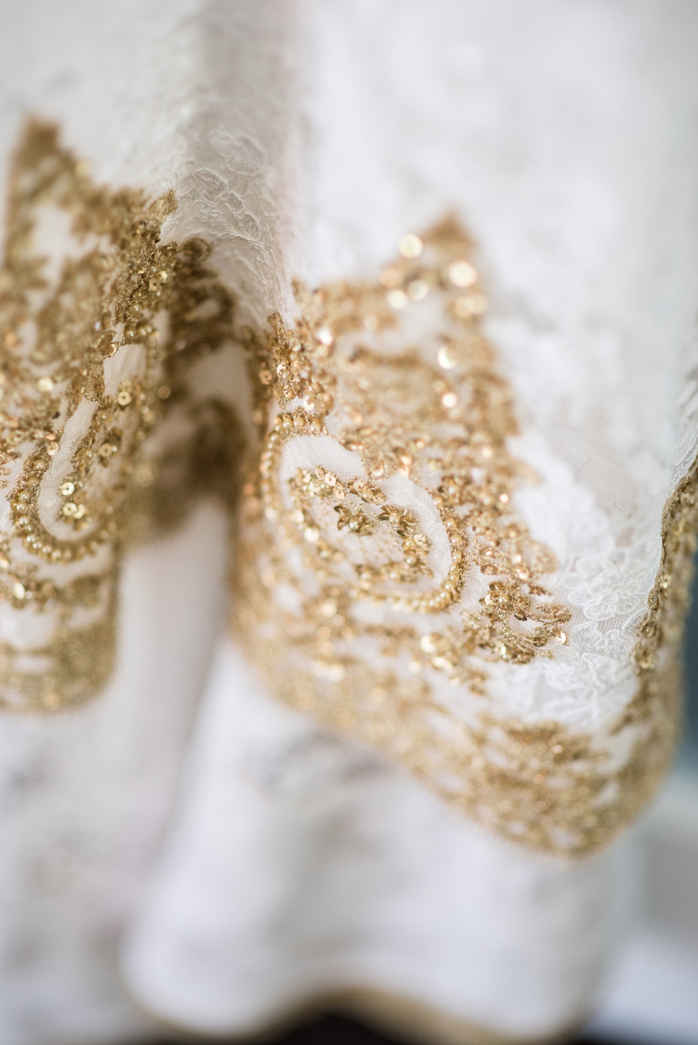 beautiful gold wedding dress details
