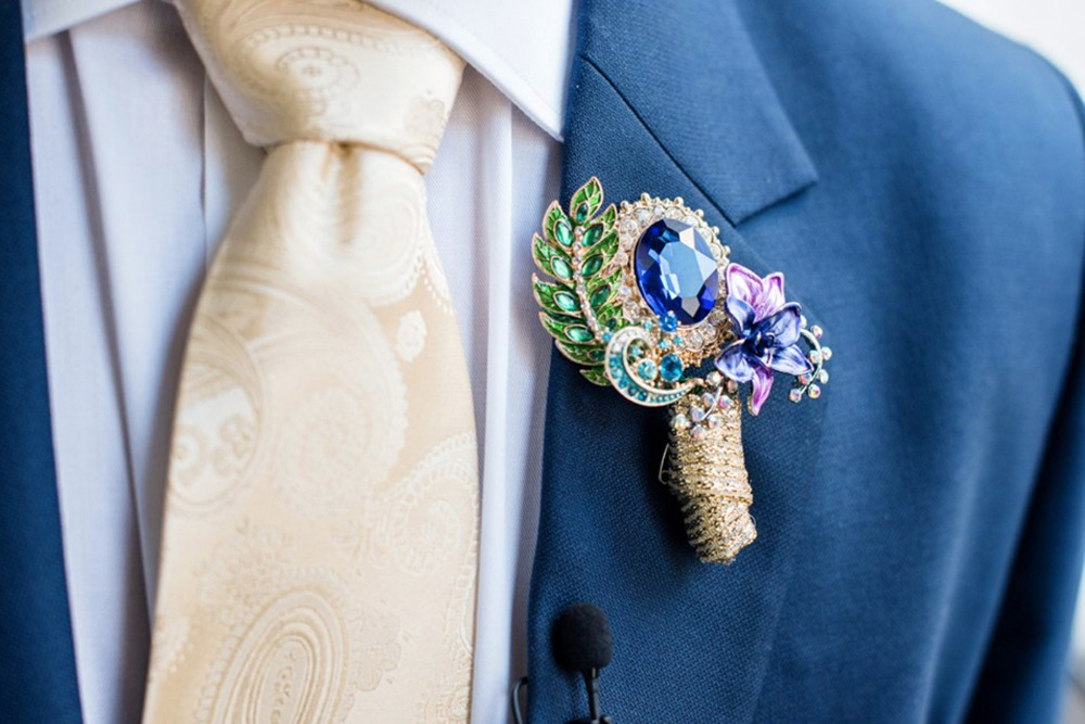 jeweled broach wedding boutonniere