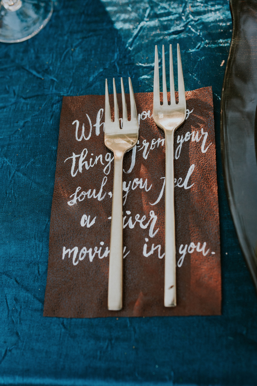 leather wedding table place setting decor