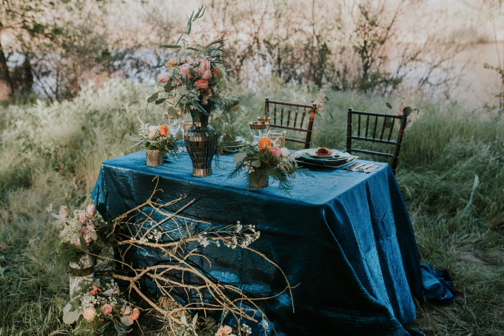 blue and green wedding reception table decor idea