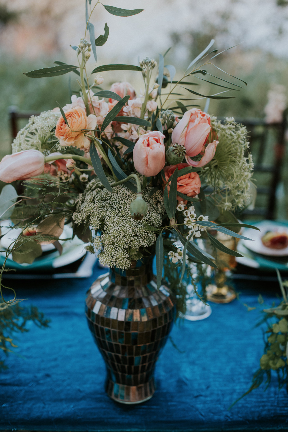 tulip and ranunculus wedding centerpiece