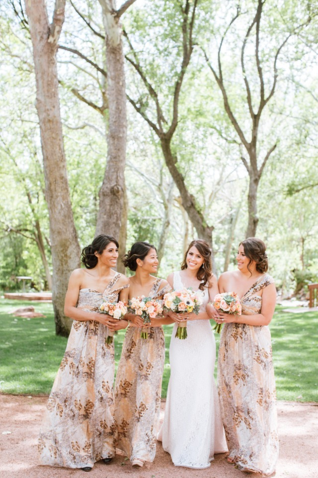 peach and floral print maid of honors dresses