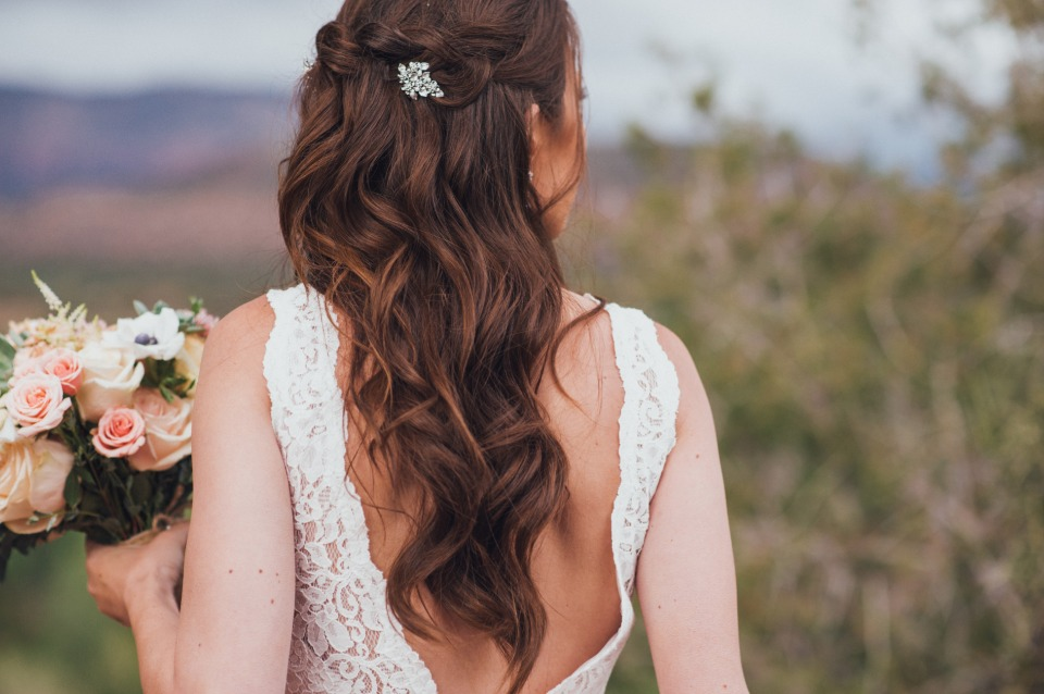 wavy half up wedding hair