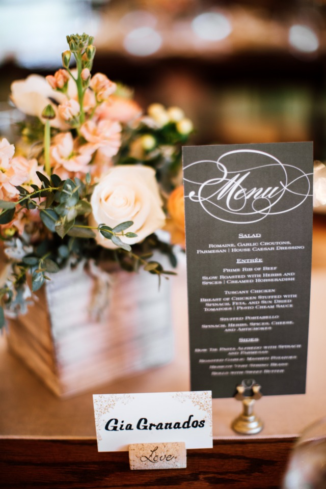 elegant black and white wedding menu