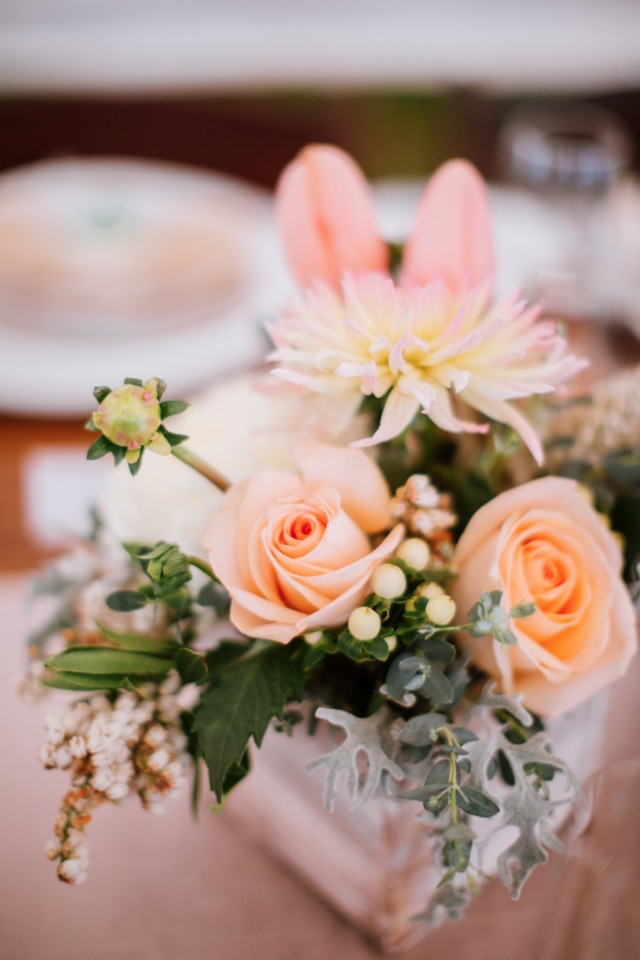 peach and pink flower arrangement