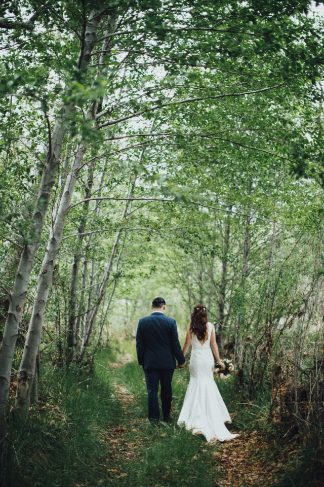 just married and in the woods