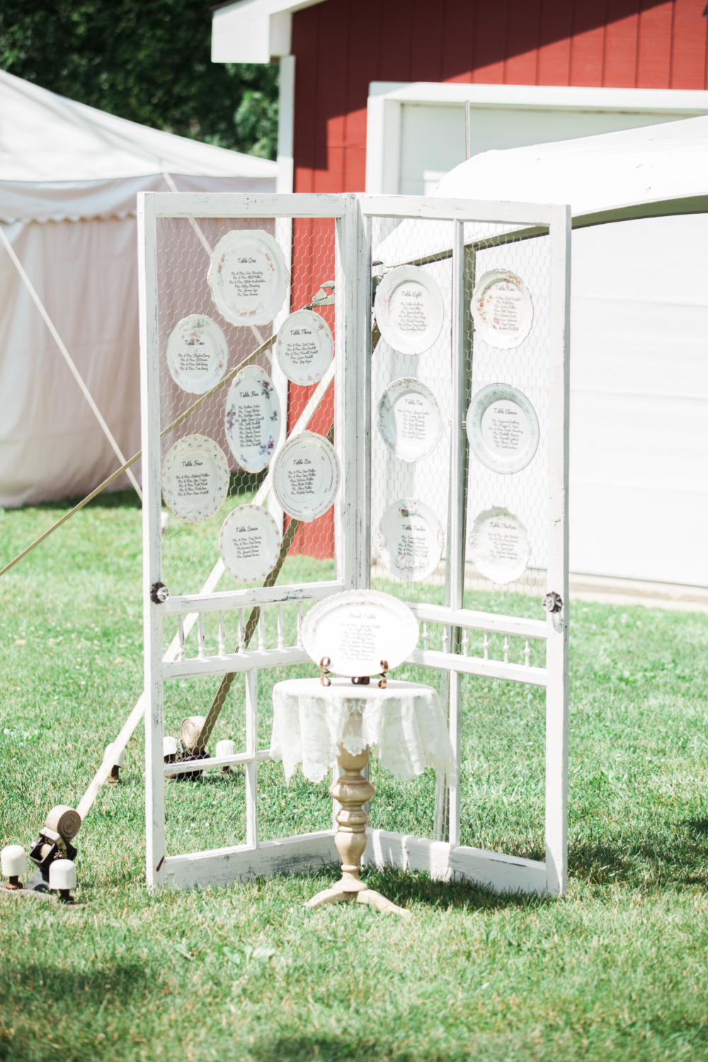 vintage dishes wedding seating chart
