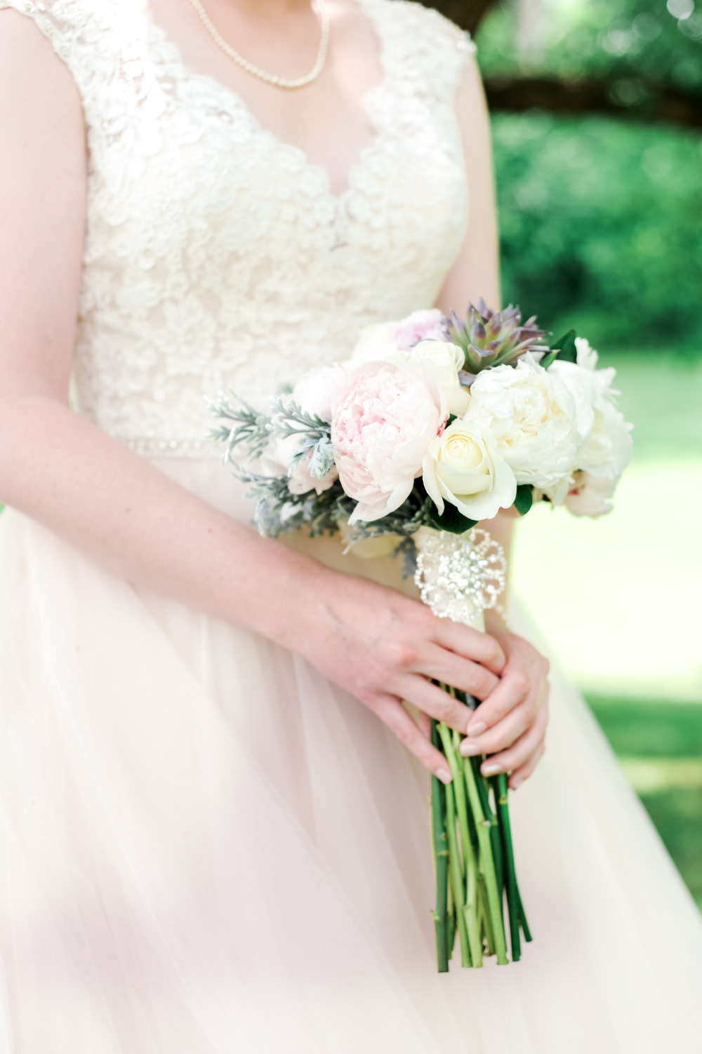 long stem wedding bouquet with peonies