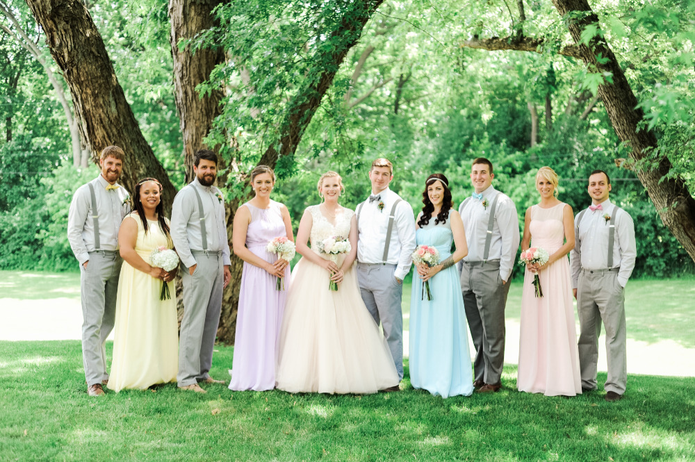 colorful wedding party attire