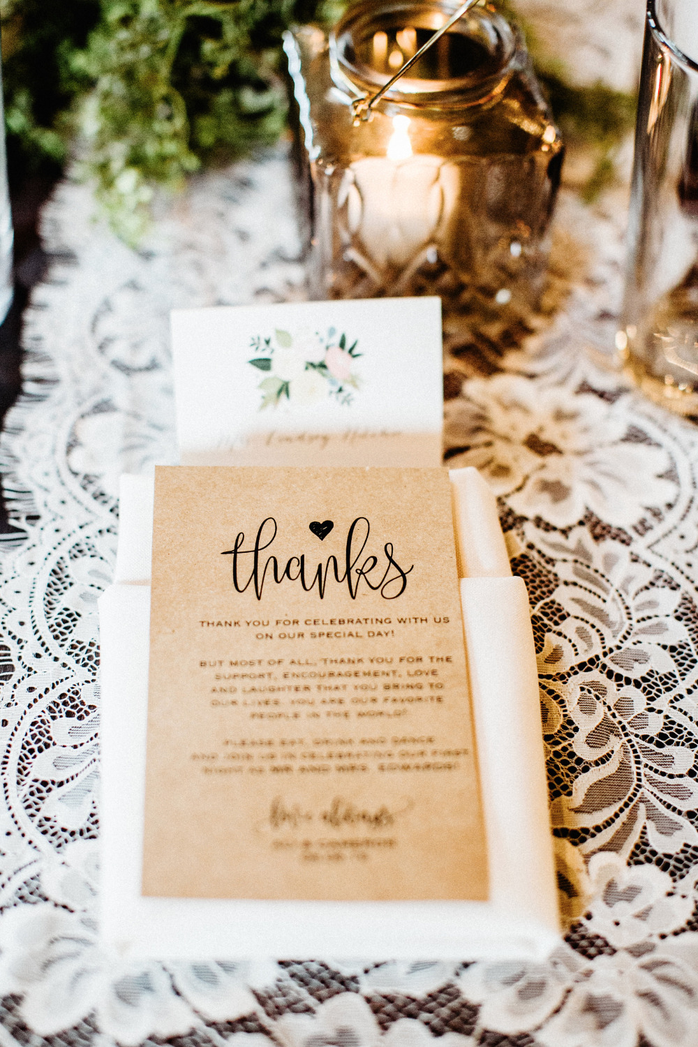 kraft paper thank you note for wedding guests