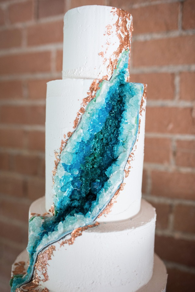 blue and gold geode wedding