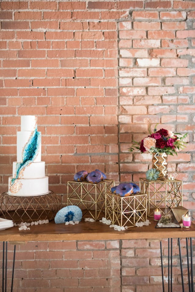 modern gold cake and sweet table