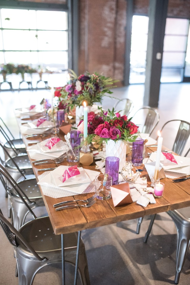 purple pink and gold modern wedding table
