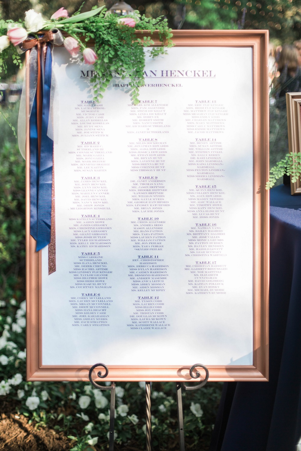 Framed seating chart
