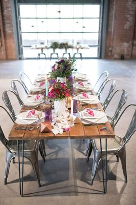 pink and purple modern warehouse wedding ideas