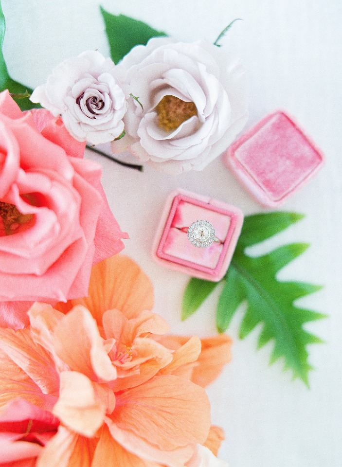 pink wedding ring box with Trumpet and Horn wedding ring