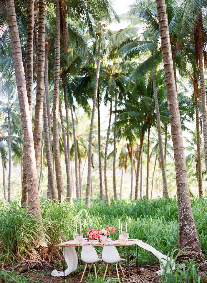 tropical forest wedding reception ideas