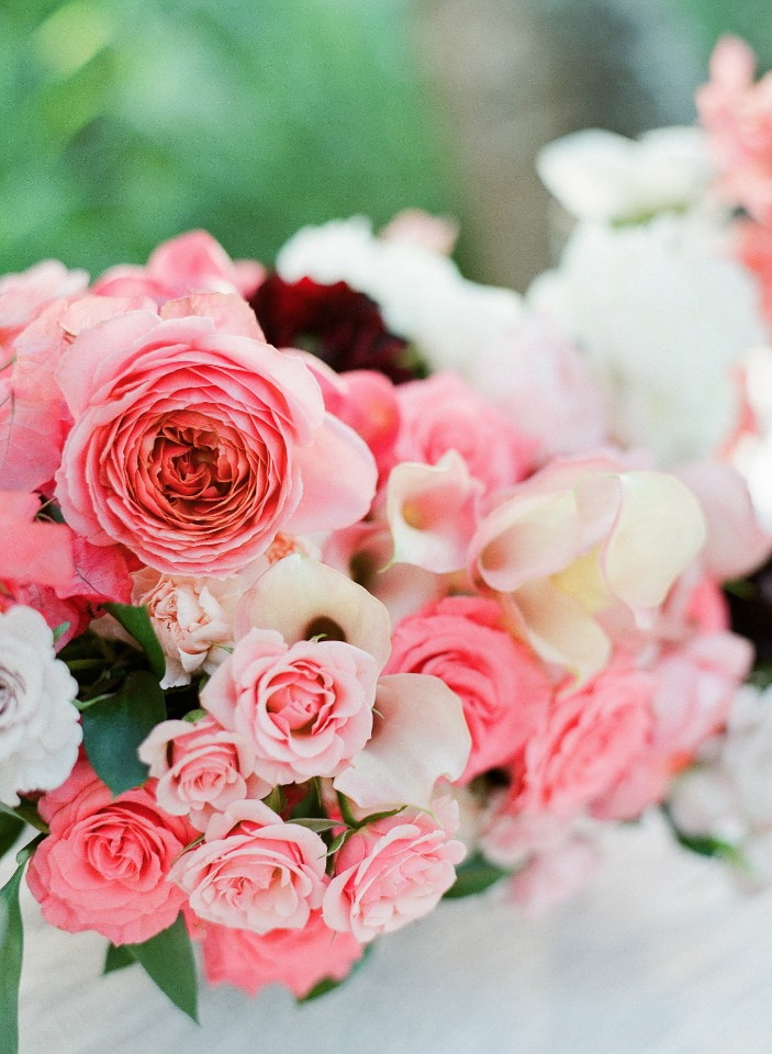 assorted pink wedding flowers