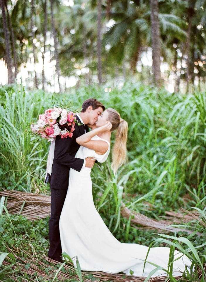 fairytale wedding kiss
