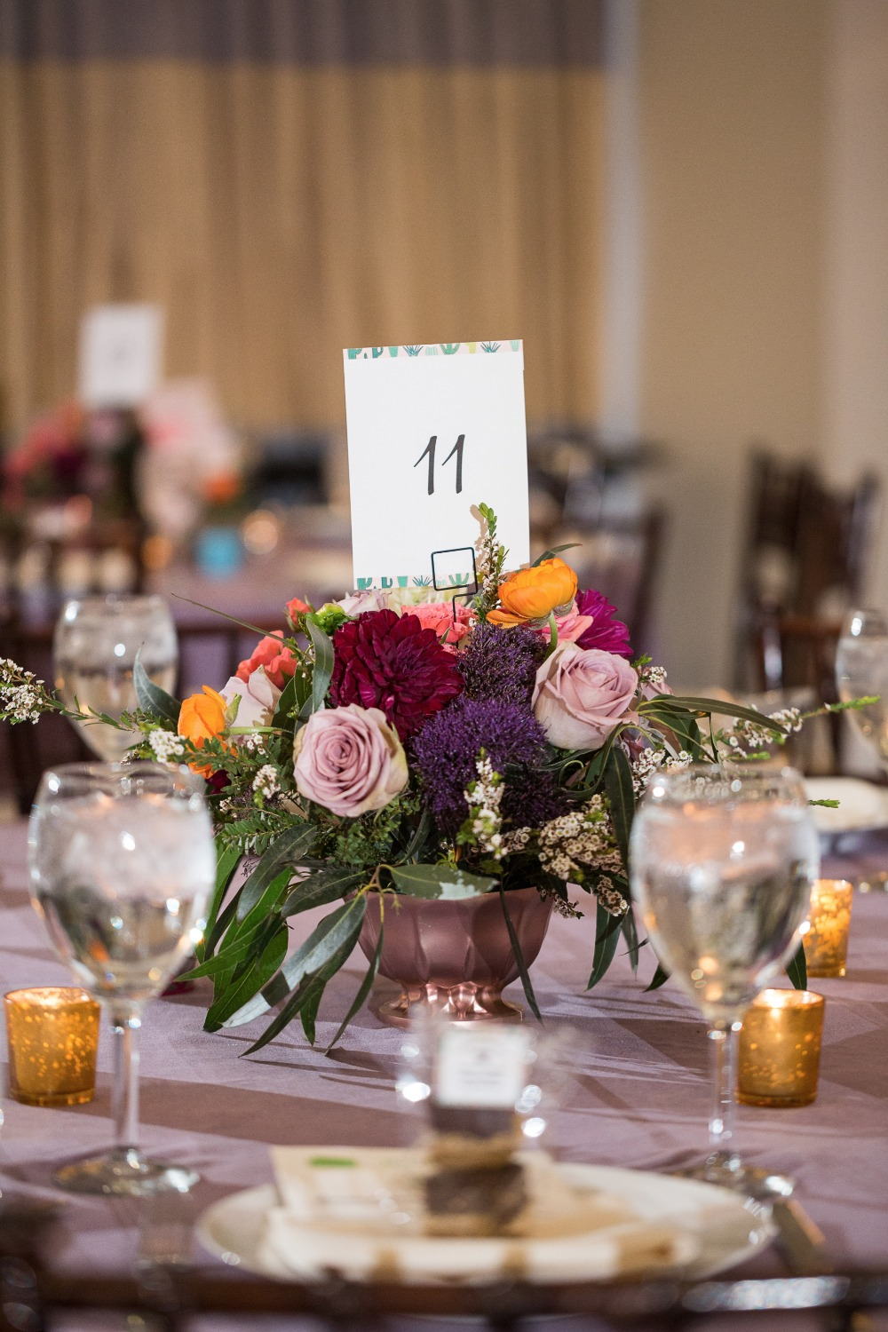 Centerpiece florals and table number ideas