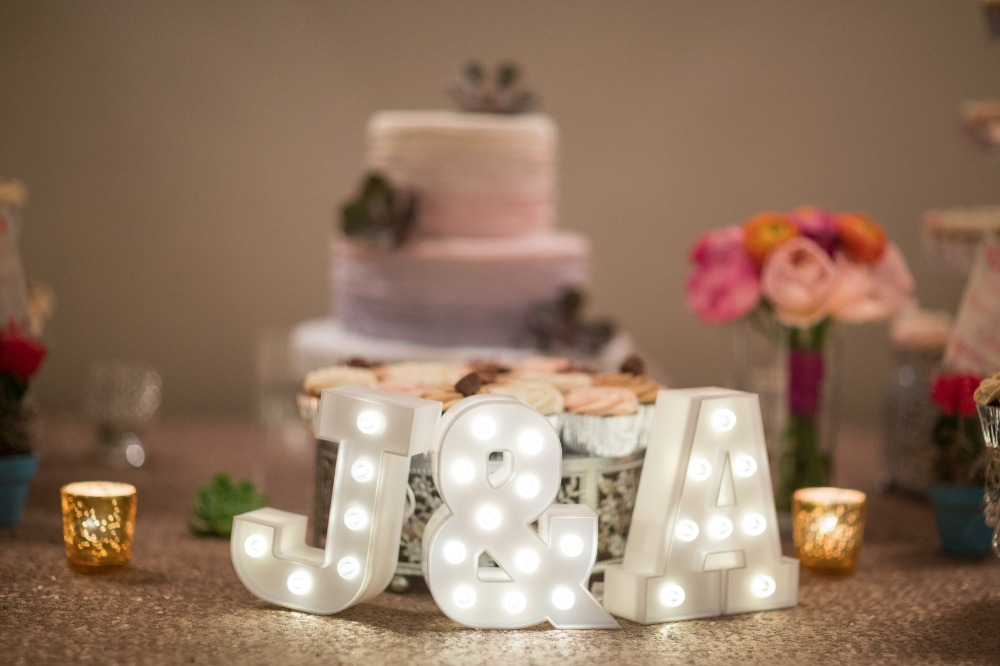 Marquee initials for the cake table