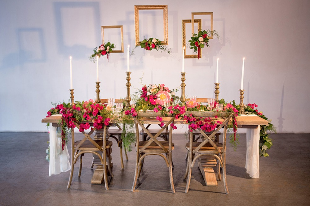 Pretty reception table setup