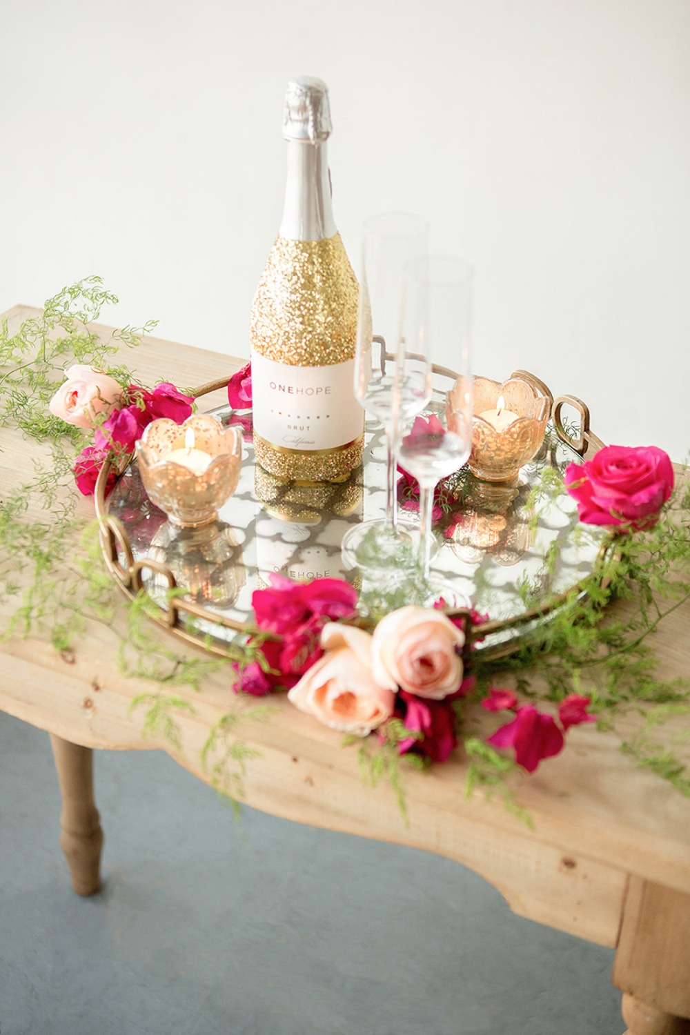 Adorable champagne toast decor