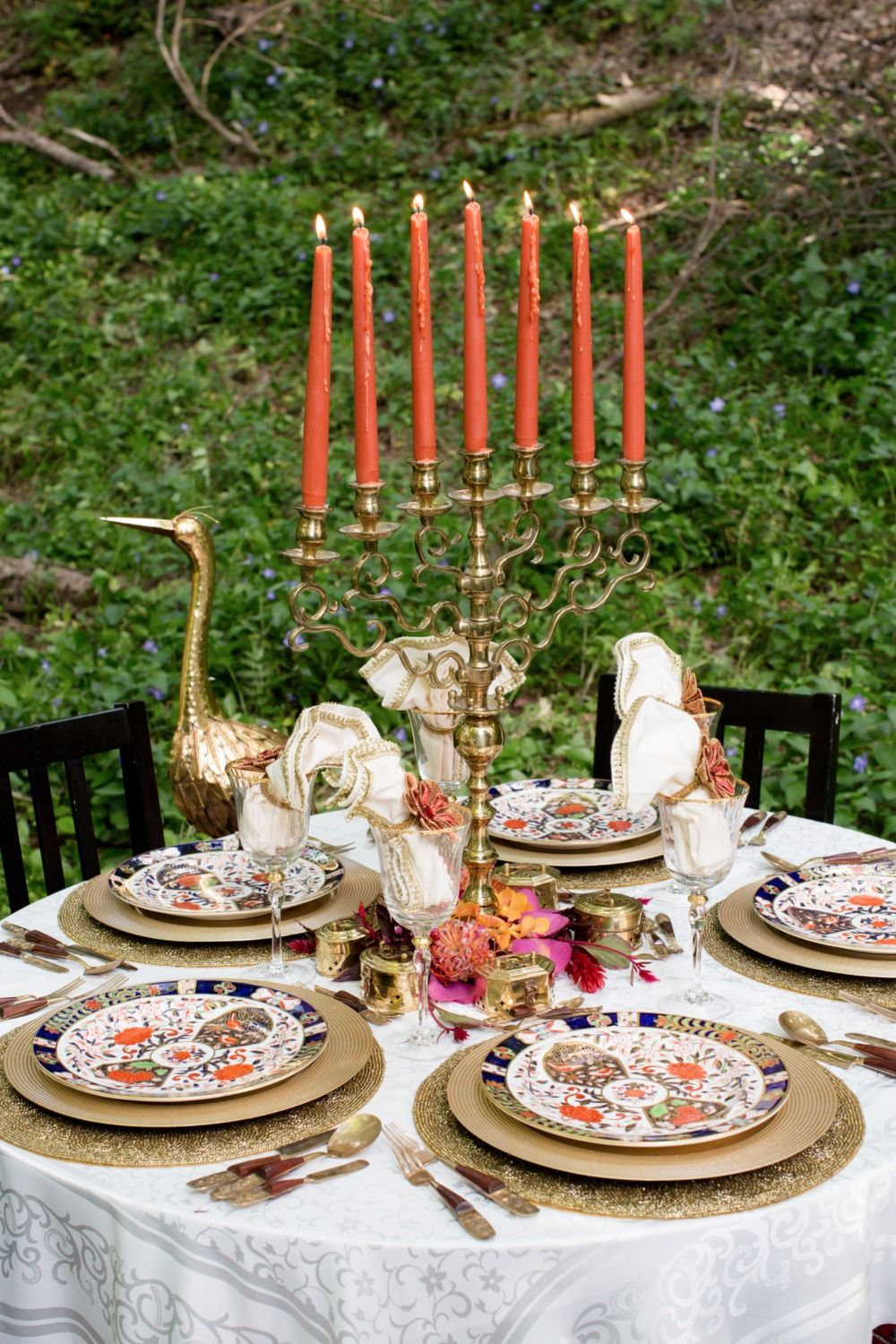 Eclectic boho reception table
