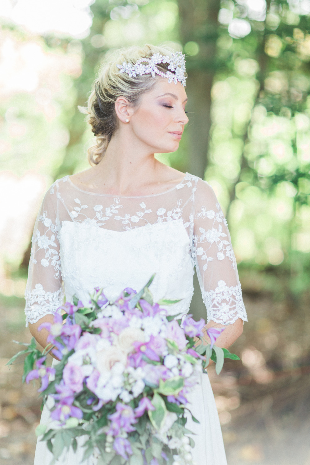 beautiful purple and white bridal look