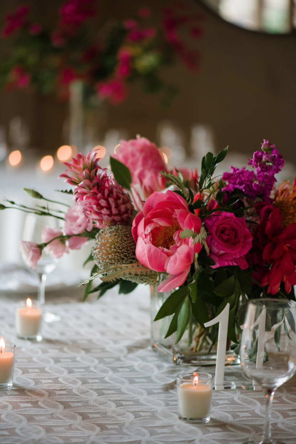 Colorful centerpiece idea with candles