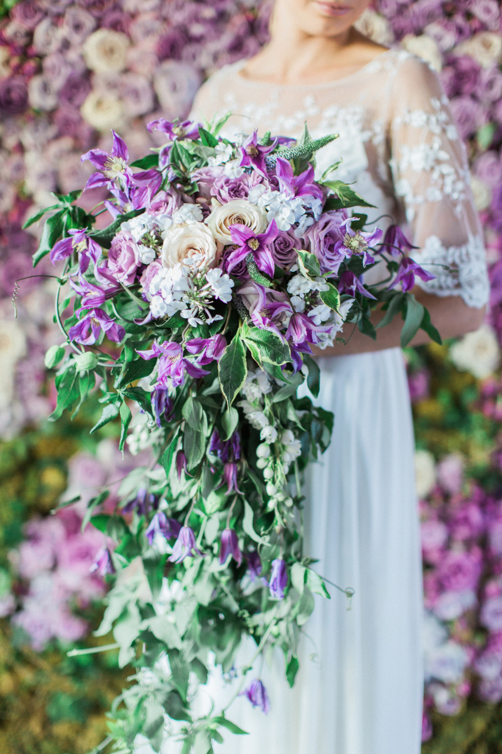 cascading purple wedding bouquet