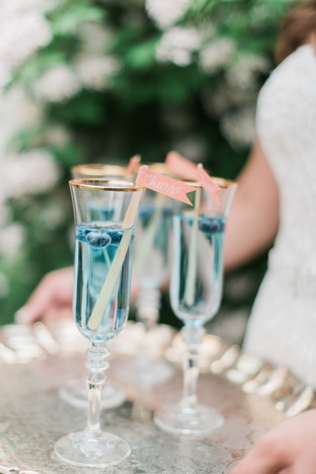 soft blue wedding cocktails